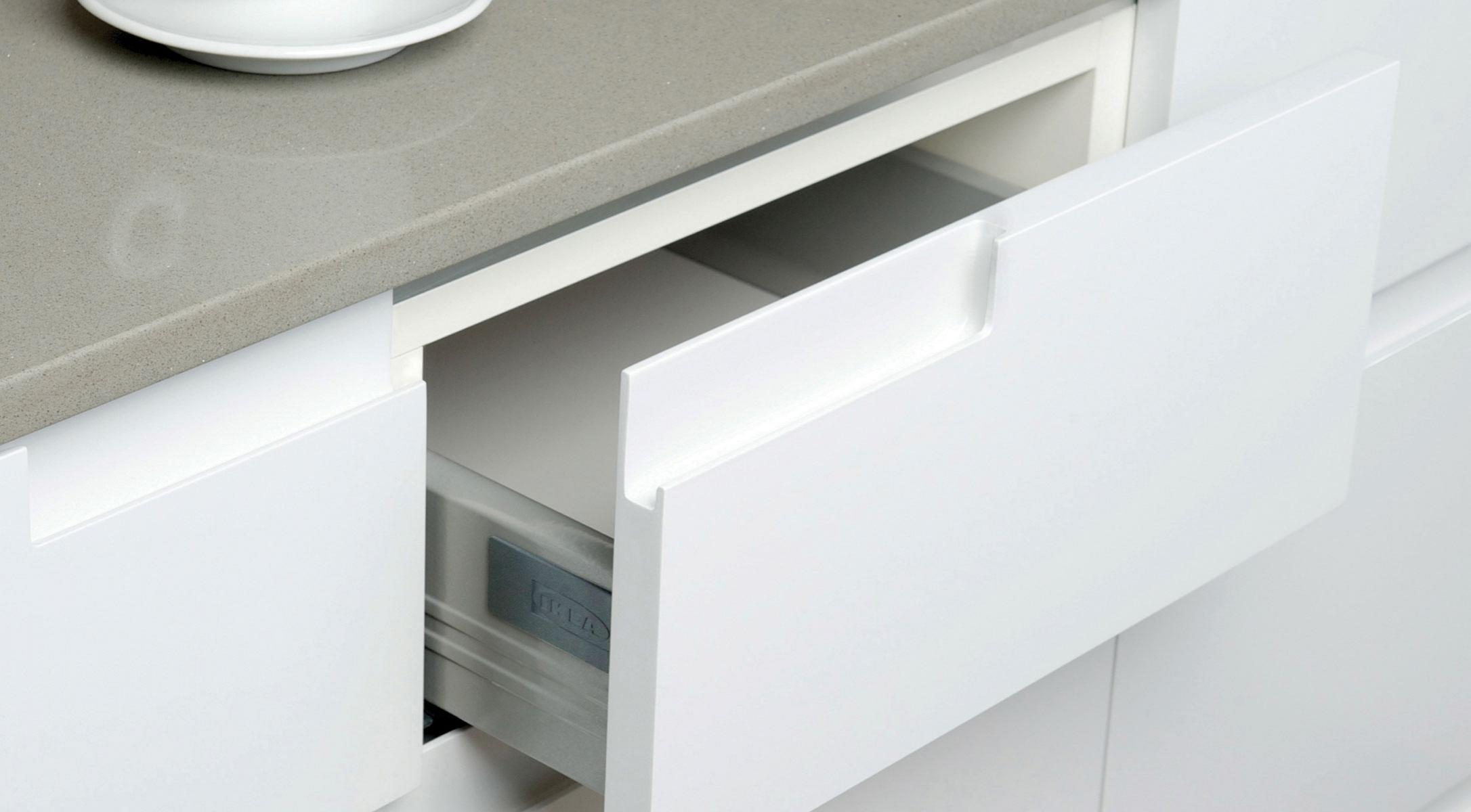 custom Ikea painted fronts drawer corner pull white