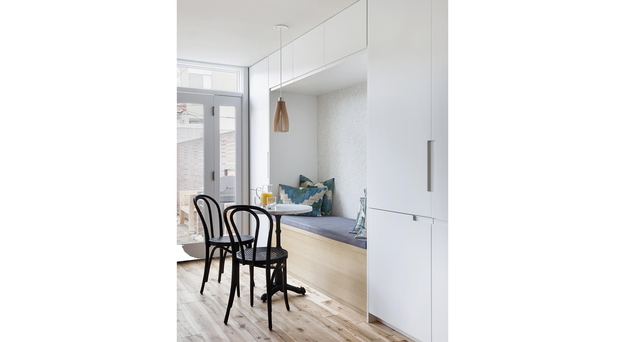 Custom Ikea Dunsmuir Cabinets White Breakfast Nook